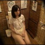居酒屋のトイレでほろ酔い加減で放尿する女の子