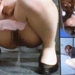 会社の裏口でこっそり放尿する美人キャリアウーマン